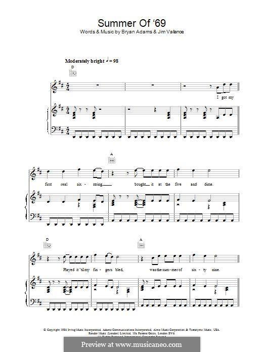 Summer of '69: Para vocais e piano (ou Guitarra) by Bryan Adams, Jim Vallance