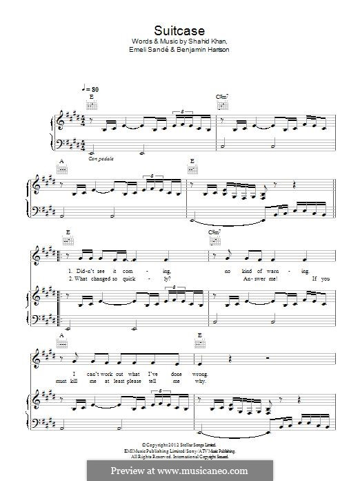 Suitcase: Para vocais e piano (ou Guitarra) by Ben Harrison, Emeli Sandé, Shahid Khan