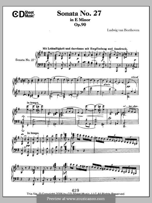 Sonata for Piano No.27, Op.90: para um único musico (Editado por H. Bulow) by Ludwig van Beethoven