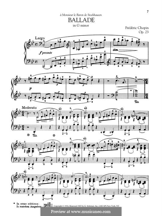 Ballade No.1 in G Minor, Op.23: Para Piano by Frédéric Chopin