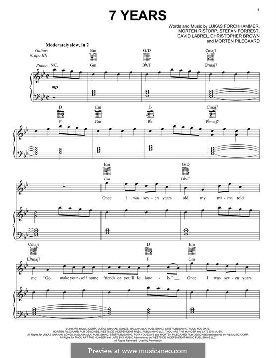 7 Years: Para vocais e piano (ou Guitarra) by Christopher Brown, David Labrel, Lukas Forchhammer, Stefan Forrest, Morten Jensen, Morten Pilegaard