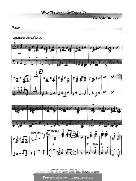 When the Saints Go Marching In: Piano part (Art Dedrick) by James Milton Black