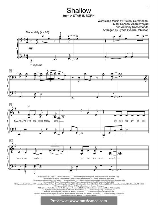 Shallow (from A Star is Born): Para Piano by Andrew Wyatt, Anthony Rossomando, Mark Ronson, Stefani Germanotta