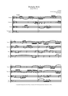 Prelude and Fugue No.16 in G Minor, BWV 885: Prelude, for strings by Johann Sebastian Bach