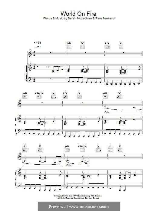 World on Fire: Para vocais e piano (ou Guitarra) by Pierre Marchand, Sarah McLachlan