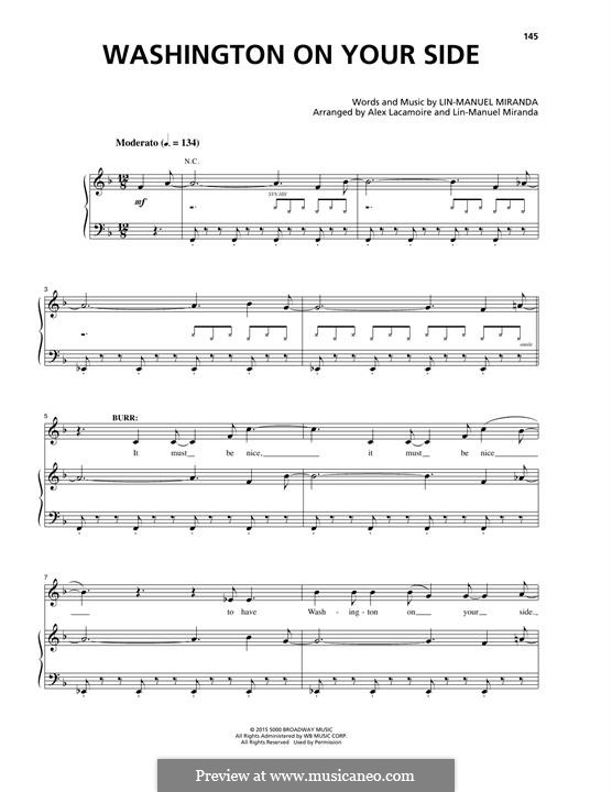 Washington on Your Side (from Hamilton): Para vocais e piano by Lin-Manuel Miranda