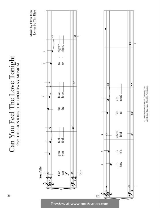 Can You Feel the Love Tonight (from The Lion King), for Piano: para um único musico (Editado por H. Bulow) by Elton John