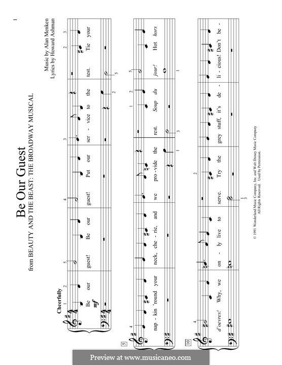 Be Our Guest (from Beauty and the Beast): Para Piano by Alan Menken