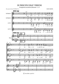 In Principio Erat Verbum for SSAA and piano: In Principio Erat Verbum for SSAA and piano by Hans Bakker