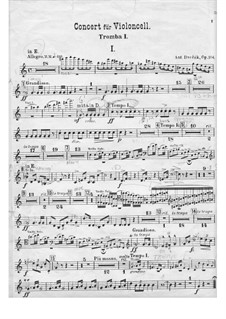 Concerto for Cello and Orchestra in B Minor, B.191 Op.104: trompeta parte I by Antonín Dvořák