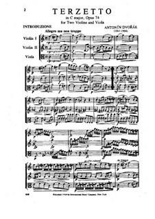 Terzetto in C Major, B.148 Op.74: Partitura completa by Antonín Dvořák