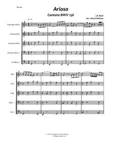 Ich steh mit einem Fuss im Grabe, BWV 156: Arioso, for quintet recorders by Johann Sebastian Bach