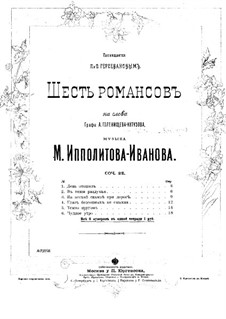 Six Romances for Voice and Piano, Op.22: Six Romances for Voice and Piano by Mikhail Ippolitov-Ivanov
