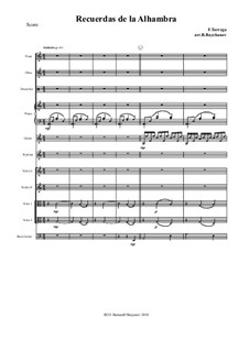 Memories of the Alhambra: For chamber orchestra – full score by Francisco Tárrega
