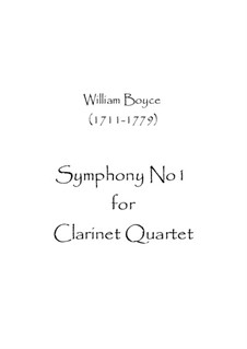 Symphony No.1: para quarteto de clarinete by William Boyce
