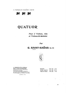 String Quartet No.1 in G Major, Op.112: versão para piano de quatro mãos by Camille Saint-Saëns