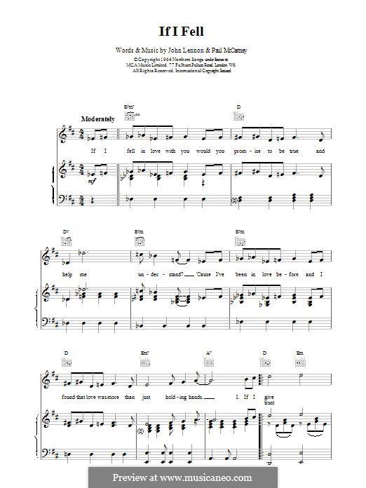 If I Fell (The Beatles): Para vocais e piano by John Lennon, Paul McCartney