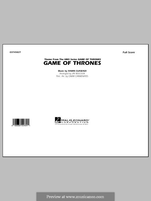 Game of Thrones (arr. Jay Bocook): Conductor score (full score) by Ramin Djawadi