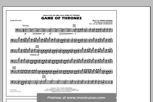 Game of Thrones (arr. Jay Bocook): Baritone B.C. part by Ramin Djawadi