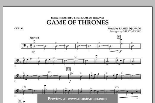 Game of Thrones: For string orchestra, piano and percussion - cello part by Ramin Djawadi