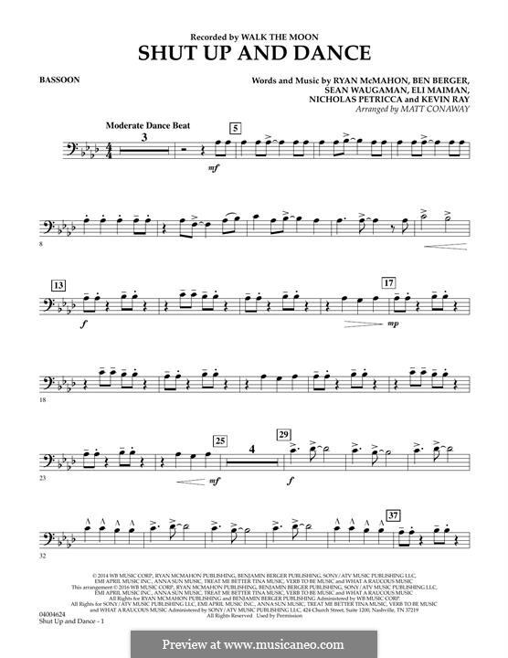 Shut Up and Dance (Walk the Moon): Bassoon part (arr. Matt Conaway) by Nicholas Petricca, Ryan McMahon, Eli Maiman, Ben Berger, Sean Waugaman