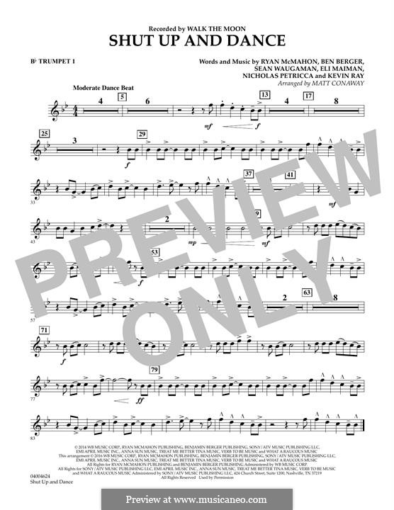 Shut Up and Dance (Walk the Moon): Bb Trumpet 1 part (arr. Matt Conaway) by Nicholas Petricca, Ryan McMahon, Eli Maiman, Ben Berger, Sean Waugaman