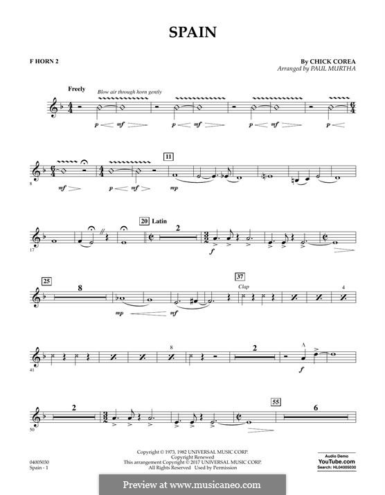 Spain: F Horn 2 part by Chick Corea
