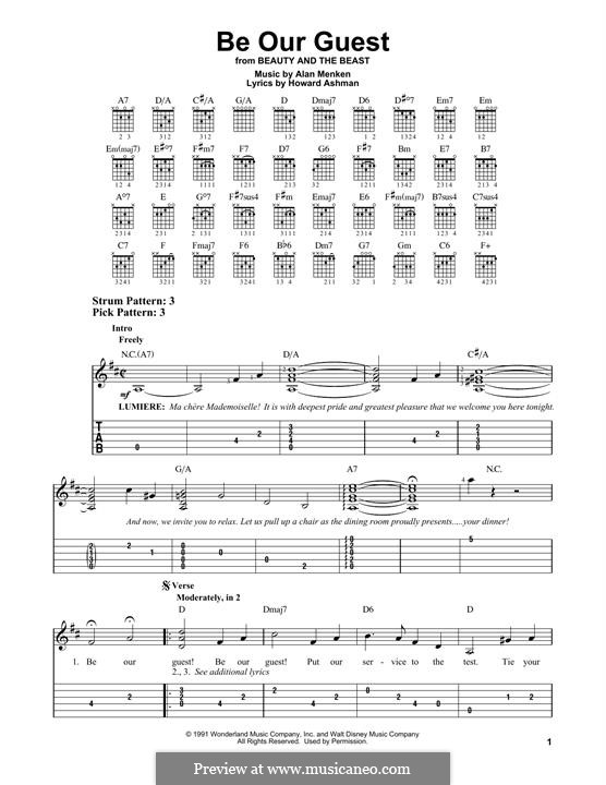 Be Our Guest (from Beauty and the Beast): Para Guitarra by Alan Menken
