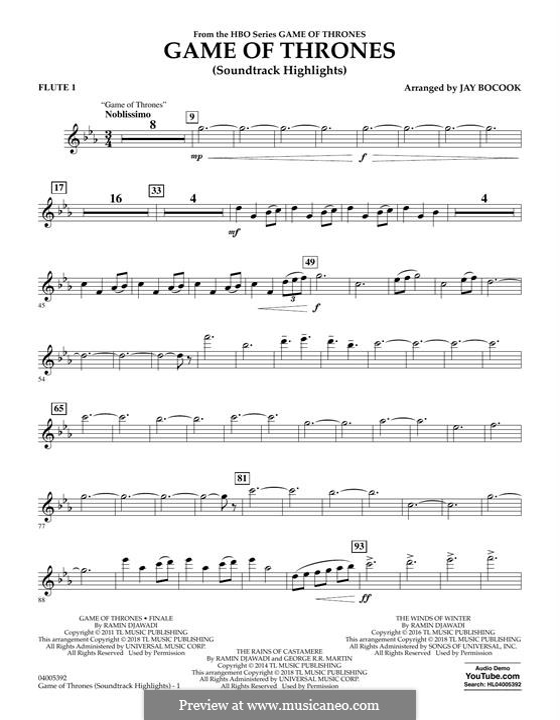 Game of Thrones (Soundtrack Highlights): Flute 1 part by Ramin Djawadi