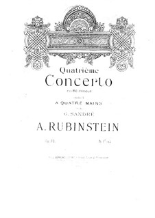 Concerto for Piano and Orchestra No.4 in D Minor, Op.70: versão para piano de quatro mãos by Anton Rubinstein