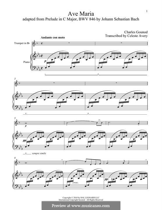 Ave Maria (Printable Sheet Music): para trompeta e piano by Johann Sebastian Bach, Charles Gounod