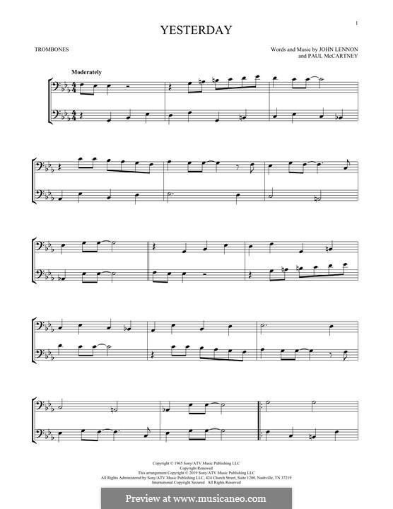 Yesterday (The Beatles): For two trombones by John Lennon, Paul McCartney