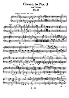 Concerto for Piano and Orchestra No.3, Op.37: Allegro. Version for two pianos four hands by Ludwig van Beethoven
