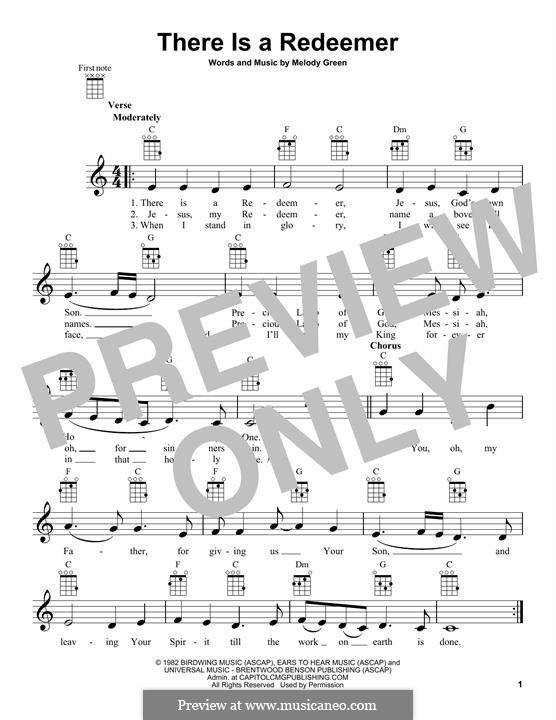 There Is a Redeemer: para ukulele by Keith Green, Melody Green