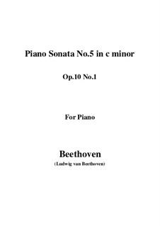Sonata for Piano No.5, Op.10 No.1: para um único musico (Editado por H. Bulow) by Ludwig van Beethoven