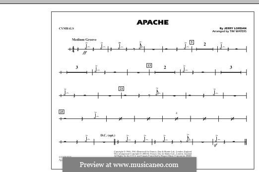 Apache (The Shadows): Cymbals part (arr. Tim Waters) by Jerry Lordan