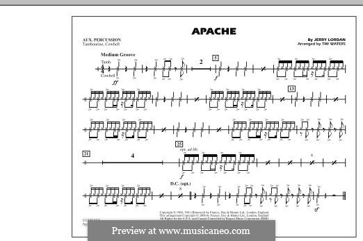 Apache (The Shadows): Aux Percussion part (arr. Tim Waters) by Jerry Lordan