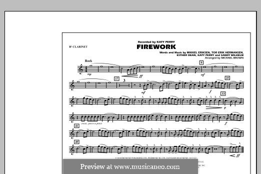 Firework (arr. Michael Brown): Bb Clarinet part by Esther Dean, Katy Perry, Mikkel Storleer Eriksen, Sandy Wilhelm, Tor Erik Hermansen