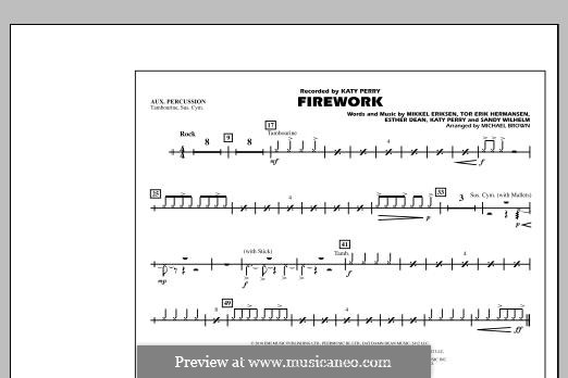 Firework (arr. Michael Brown): Aux Percussion part by Esther Dean, Katy Perry, Mikkel Storleer Eriksen, Sandy Wilhelm, Tor Erik Hermansen