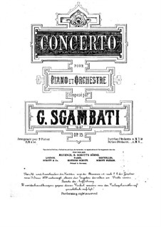 Piano Concerto in G Minor, Op.15: Score for two pianos four hands by Giovanni Sgambati