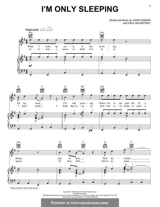 I'm Only Sleeping (The Beatles): Para vocais e piano (ou Guitarra) by John Lennon, Paul McCartney