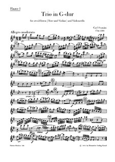 Trio for Two Flutes (or Flute and Violin) and Cello in G Major: flauta parte I by Carl Stamitz