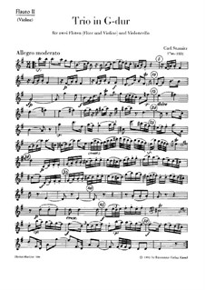 Trio for Two Flutes (or Flute and Violin) and Cello in G Major: Flute II or violin part by Carl Stamitz