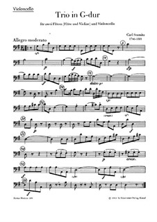 Trio for Two Flutes (or Flute and Violin) and Cello in G Major: parte violoncelo by Carl Stamitz