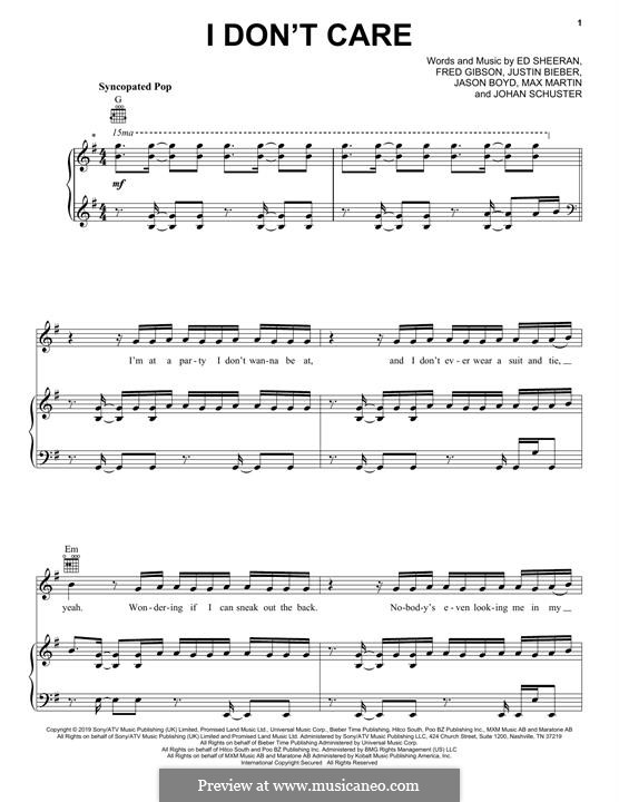 I Don't Care (Ed Sheeran & Justin Bieber): Para vocais e piano (ou Guitarra) by Ed Sheeran, Jason Boyd, Justin Bieber, Max Martin, Fred Gibson