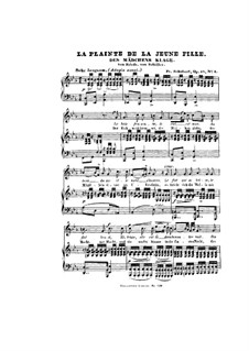 Des Mädchens Klage (The Maiden's Lament), D.191 Op.58 No.3: Partitura piano-vocal by Franz Schubert