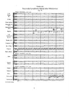 Voyevoda. Symphonic Ballade, TH 54 Op.78: Partitura completa by Pyotr Tchaikovsky