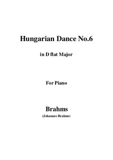 Dance No.6 in D Flat Major: Para Piano by Johannes Brahms