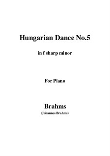 Dance No.5 in F Sharp Minor: Para Piano by Johannes Brahms