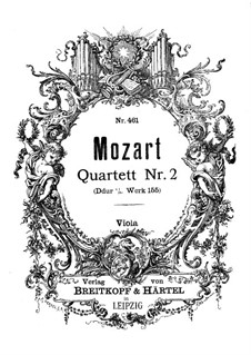 String Quartet No.2 in D Major, K.155: parte viola by Wolfgang Amadeus Mozart
